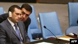 Georgian Ambassador to the UN Irakli Alasania looks on during the UN Security Council meeting