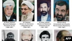 Composition of pictures depicting the men for whom Argentina has issued an international arrest for the 1994 bombing
