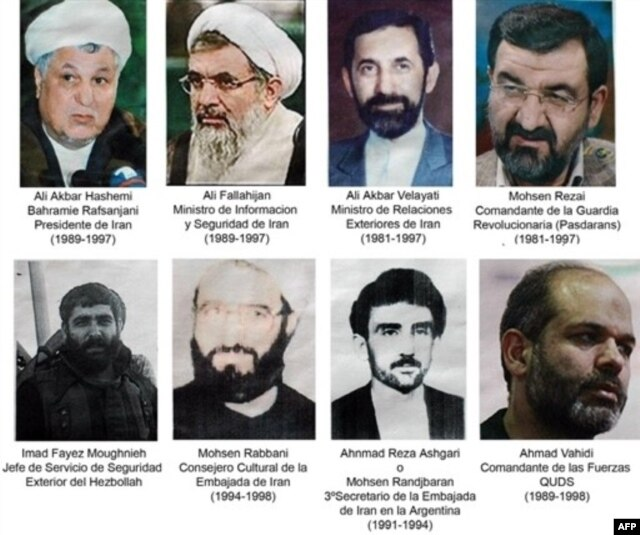 CLICK TO ENLARGE: The men for whom Argentina issued international arrest warrants in connection with the deadly 1984 bombing of the AMIA building.
