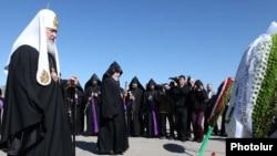 Armenia - Russian Patriarch Kirill at Tsitsernakaberd Memorial to the Armenian Genocide, Yerevan,17Mar2010