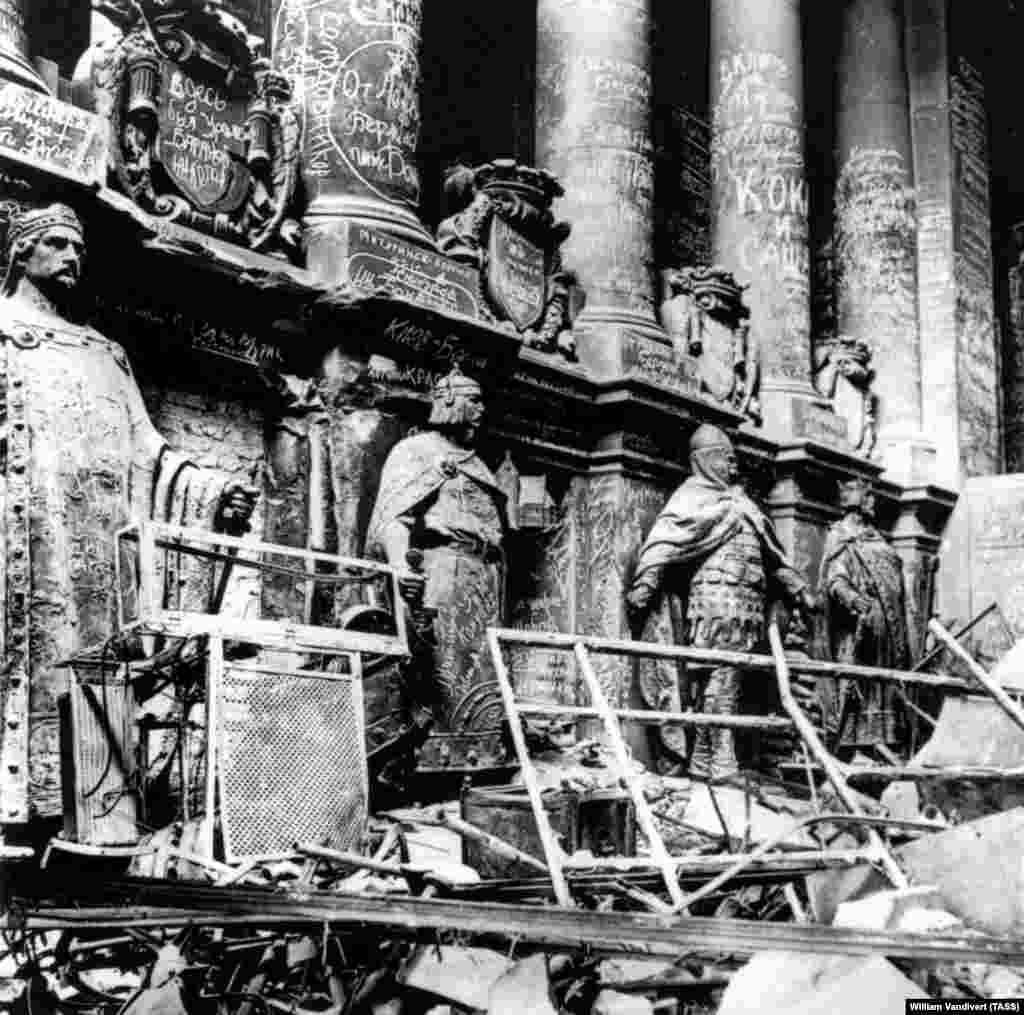 Germany's Reichstag building covered in the scrawls of Red Army soldiers after they had captured Berlin in 1945, near the end of World War II.