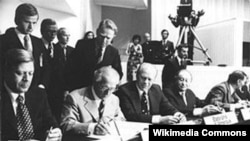 Helmut Schmidt, Erich Honecker, Gerald Ford și Bruno Kreisky la Conferința dela Helsinki