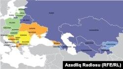 Freedom House уюмунун 2014-жылы чыккан отчету боюнча карта.