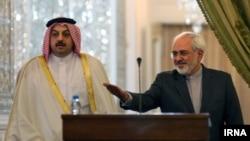 کنفرانس خبری محمد جواد ظریف و خالد بن محمد العطیه وزیران خارجه ایران و قطر در تهران