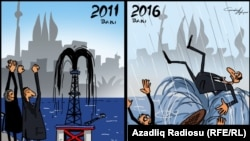 Baku 2011 - Flooded By Oil. Baku 2016 - Flooded By Rain. (RFE/RL Azerbaijani Service)