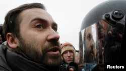 Russian Duma Deputy Ilya Ponomaryov attends an opposition protest rally in central Moscow in February 2012.