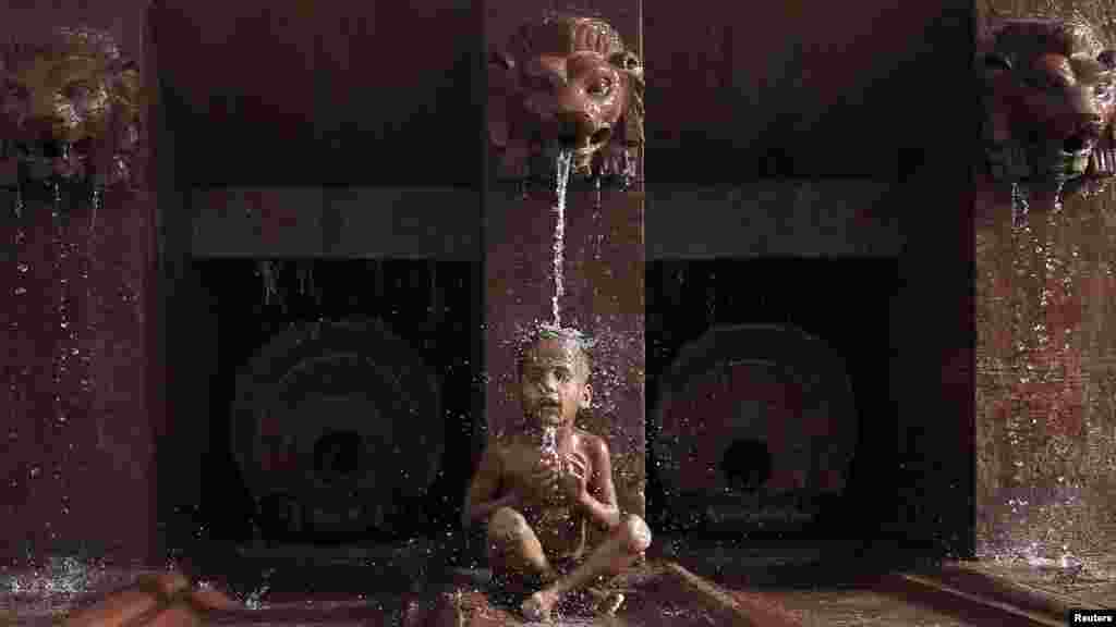 31 may, Hindistan, Yeni Dehli. Bu balaca yayın istisində sərinlənmək üçün özünü fontan altına atıb. (Reuters/Adnan Abidi)