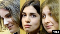 A combo photo of defendants Ekaterina Samusevich, Nadezhda Tolokonnikova, and Maria Alyokhina (left to right)