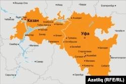 Татарстан һәм Башкортстан харитасы