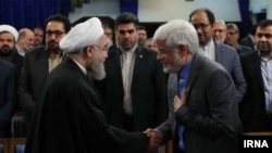 Iranian president Hassan Rouhani meeting with Mohammad Reza Aref and other reformists. Undated