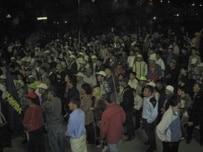 Opposition demonstrators in Bishkek late on April 19 (RFE/RL)