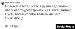 Реакция на заявления грузинских лидеров в соцсетях