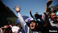 Members Afghanistan's Hazara minority protesting in Kabul on May 16.