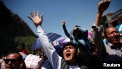 Members Afghanistan's Hazara minority protesting in Kabul on May 16.