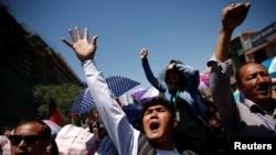 FILE: Demonstrators from Afghanistan's Hazara minority protest in Kabul.