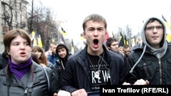 Ultranationalists take part in the infamous Russian March in Moscow on Unity Day last year.