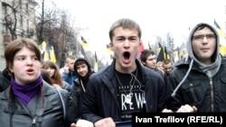 """Один из """"Русских маршей"""" в Москве в 2013 году"""