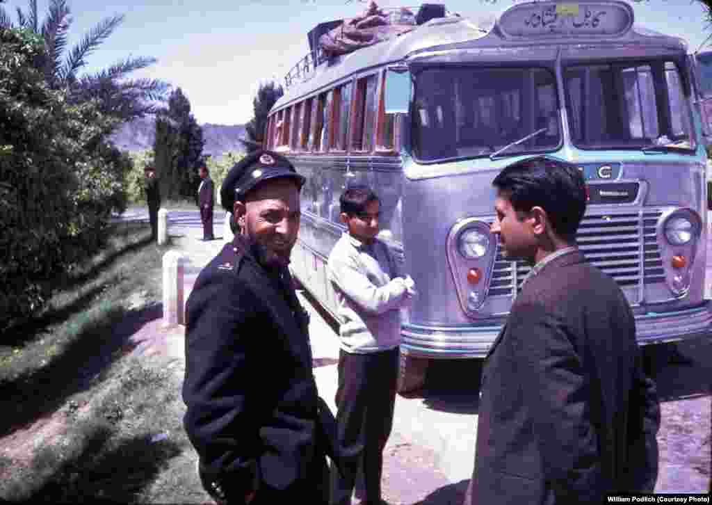 """In the spring of 1968, my family took a public, long-distance Afghan bus through the Khyber Pass to visit Pakistan (Peshawar and Lahore),"" Peg Podlich remembers. ""The road was rather bumpy in that direction, too. As I recall it was somewhat harrowing at certain points with a steep drop off on one side and a mountain straight up on the other! I remember that before we left Kabul my father paid for a young man to go around the bus with a smoking censor to bless the bus or ward off the evil eye. I guess it worked -- we had a safe trip."""