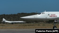 Two Russian Tu-160 strategic bombers are shown at Maiquetia International Airport, just north of Caracas.