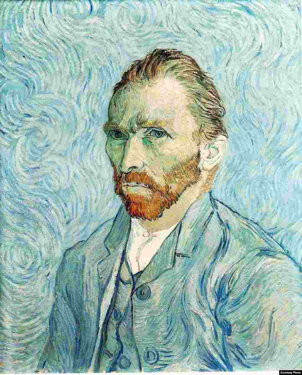 This iconic self-portrait by Vincent Van Gogh, in the Musee d'Orsay in Paris, dates to 1889.