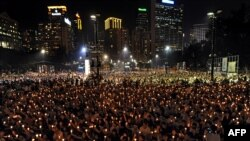 Hong Kong's Victoria Park during a candlelight vigil to mark the 20th anniversary of the Tiananmen crackdown by Beijing