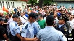 Протест за изградба на црквата Св. Константин и Елена пред Општина Центар во Скопје организиран од граѓанската иницијатива Веритас.