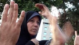 Faezeh Hashemi Rafsanjani at a rally in Tehran after the disputed presidential election in June 2009