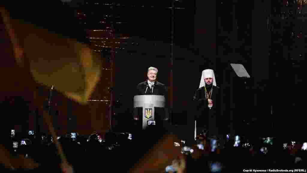Виступ президента України Петра Порошенка після обрання голови єдиної Української помісної православної церкви