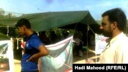 إحدى مظاهرات لاجئي مخيم رفحاء في السماوة