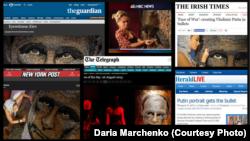 Скріншот із заголовками статей про «Обличчя війни»