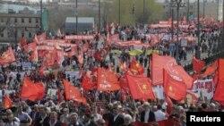 Первомайское шествие в Москве. 1 мая 2017 года.