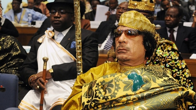 Libyan leader Muammar Qaddafi at the opening of an African heads of state summit in Addis Ababa in February 2009