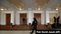 Outside a Prague courtroom during an appeal by Yevgeny Nikulin in November 2017. He was arrested in Prague and extradited to the United States.