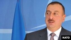 Belgium -- Azerbaijani President Ilham Aliyev at NATO headquarters in Brussels, 29Apr2009
