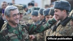 Armenia - President Serzh Sarkisian inspects a frontline army unit on New Year's Eve, 31Dec2011.