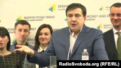 Ukrayna Odessanın keçmiş qubernatoru Mixeil Saakaşvili Kiyevdə mətbuat konfransı keçirir, 11 noyabr 2016