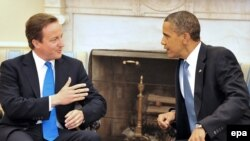 British Prime Minister David Cameron met at the White House with U.S. President Barack Obama.