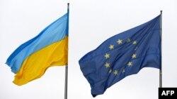 Եվրամիության և Ուկրաինայի դրոշները, Բեռլին, հունվար, 2015թ․