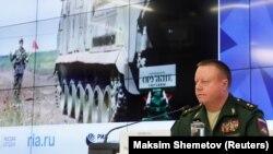 Начальник главного ракетно-артиллерийского управления Министерства обороны России Николай Паршин на пресс-конференции в Москве, 17 сентября 2018