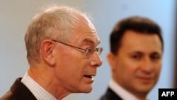 Претседателот на Европскиот Совет Херман Ван Ромпуј и премиерот Никола Груевски