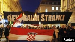 Марш протеста безработице в Загребе, Хорватия, 14 марта 2011