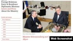 Xarici İşlər naziri Karel Schwarzenberg azərbaycanlı hüquqşünas İntiqam Əliyevi qəbul edərkən, 4 mart 2013