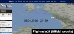 Сайт Flightradar24, перелет самолета Airbus 320-212 YK-BAG 18 апреля из Симферополя в Сочи