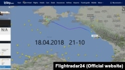Сайт Flightradar24, переліт літака Airbus 320-212 YK-BAG 18 квітня з Сімферополя до Сочі