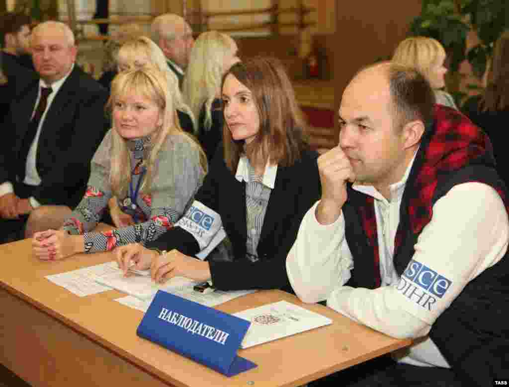 OSCE observers at a polling station in Vytebsk