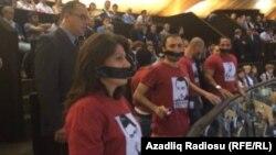 İlham Əliyevin çıxışı zamanı aksiya