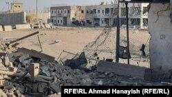 Уништена зграда по нападот во Баграм.