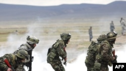 Azerbaijani and U.S. soldiers participate in a joint NATO military exercise outside Baku last year.
