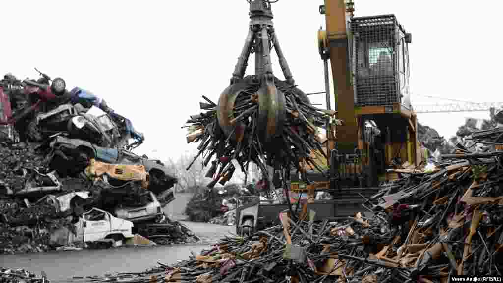 More than 17,000 illegal weapons, either confiscated or voluntarily handed over, were destroyed at a Belgrade recycling center. All of the weapons were dismantled and turned into scrap metal. (RFE/RL/Vesna Andjic)