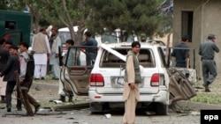 Место покушения на кандидата в президенты Афганистана Абдуллу Абдуллу.
